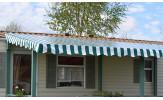 Toiture rayée vert/blanc pour terrasse de mobil home