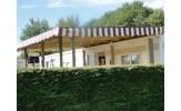 Toiture rayée marron/ivoire pour terrasse de mobil home